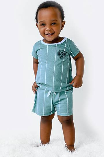 Stripe Tee And Shorts Set