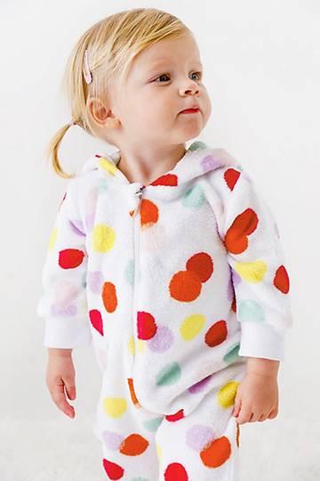 Hooded Polka Dot Sleepsuit