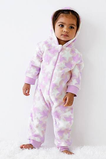 Hooded Star Print Sleepsuit