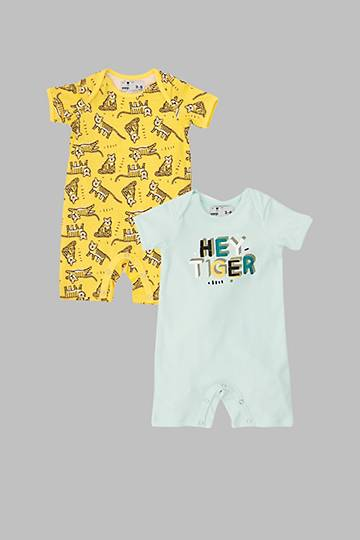 2 Pack Tiger Print Rompers