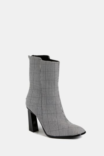 Plaid Ankle Sock Boot