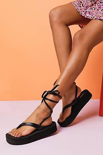 Lace Up Flatform Sandal