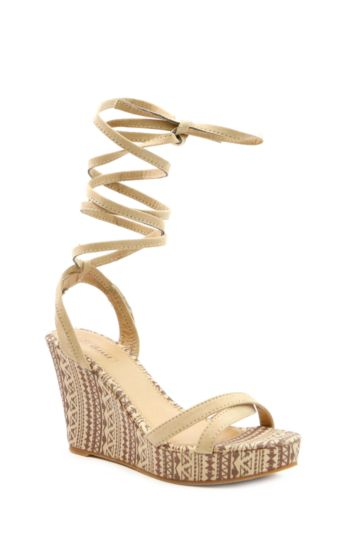 Lace Up Aztec Wedge