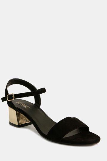Metallic Block Heel