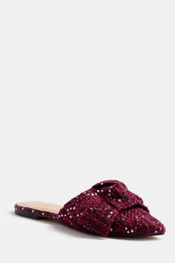 Sequin Bow Slip On Mule