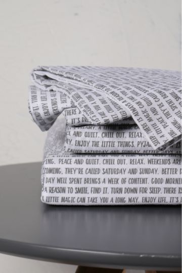 132 Thread Count Printed Script Fitted Sheet