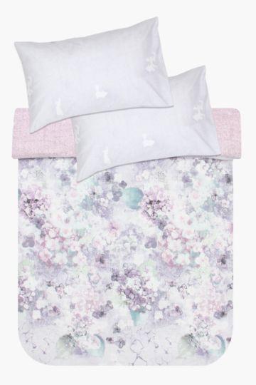 Printed Floral Hydrangea Duvet Cover Set