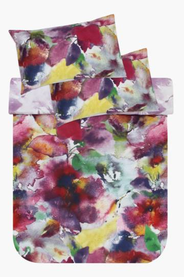 Printed Water Colour Botanical Duvet Cover Set