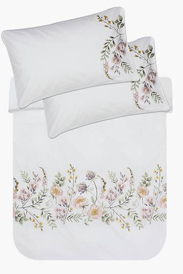 Embroidery Field Floral Duvet Cover Set