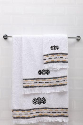 Embroidered Geometric Border Towel