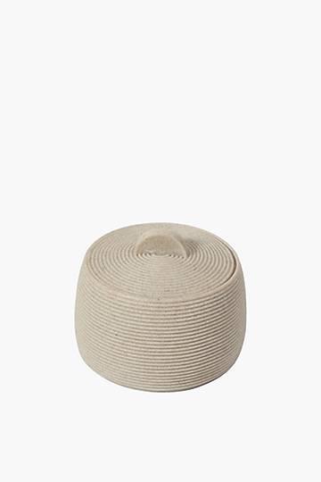 Ribbed Sandstone Cotton Bud Holder