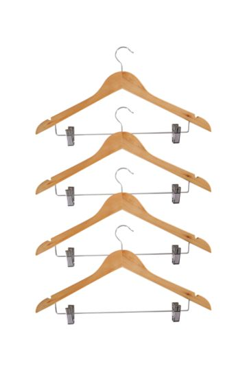 Pack Of 4 Wooden Hangers With Hooks