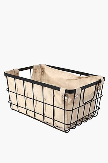 Wire Utility Basket With Lining, Large