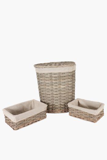 3 Piece Woodslat Laundry Set
