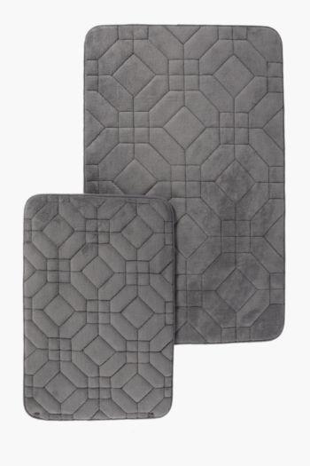 2 Piece Embossed Memory Foam Bath Mat Set