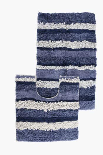 2 Piece Chenille Stripe Bath Mat Set