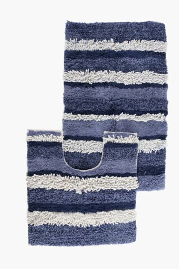2 Piece Chenille Stripe Bath Mat Set