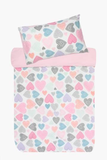 Microfibre Hearts Duvet Cover Set