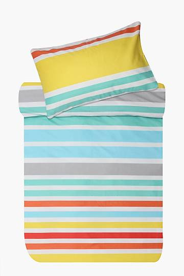 Microfibre Stripe Duvet Cover Set