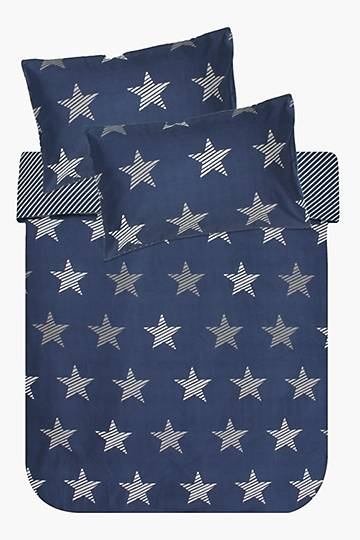 Microfibre Stripes And Stars Bed In A Bag Duvet Cover Set