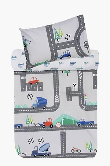 Polycotton Printed Race Track Duvet Cover Set