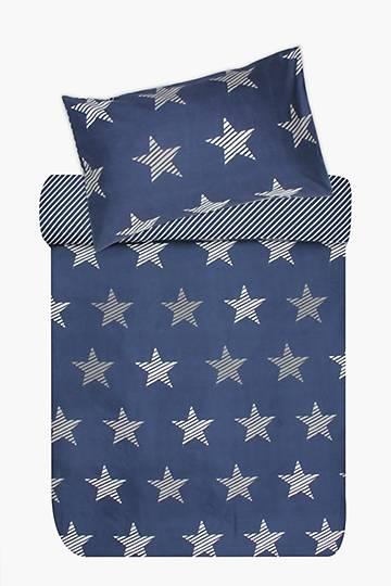 Microfibre Stars And Stripes Duvet Cover Set