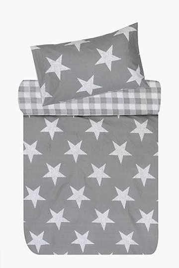 100% Cotton Printed Stars And Checks Duvet Cover Set