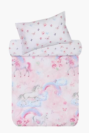 Polycotton Summer Unicorns Duvet Cover Set