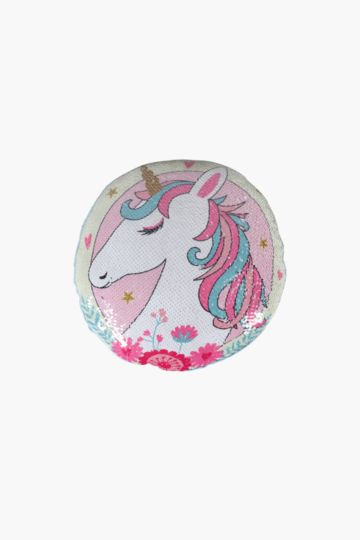 Unicorn Sequin Cushion, 33cm