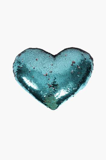 Heart Shaped Sequin Scatter Cushion, 30x35cm