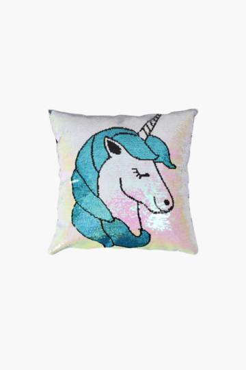Sequin Unicorn Scatter Cushion, 40x40cm