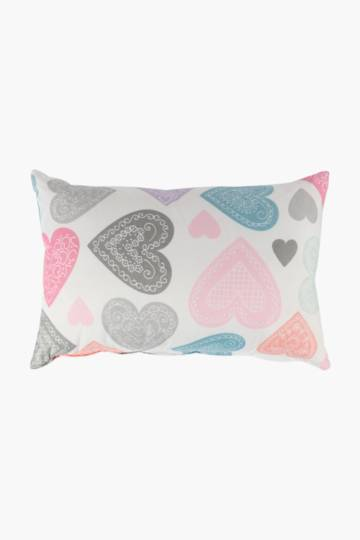 Microfibre Printed Hearts Scatter Cushion, 30x50cm