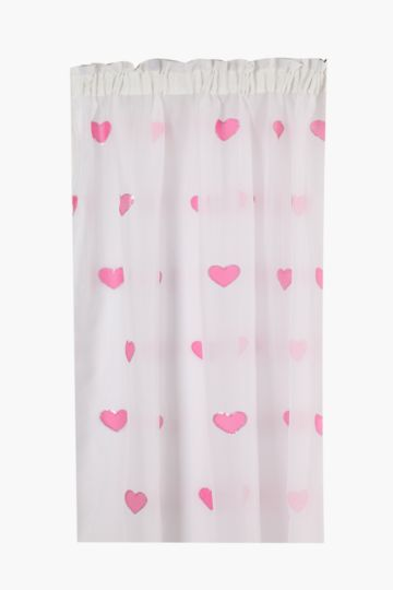 Embroidered Voile Heart 230x218cm Curtain