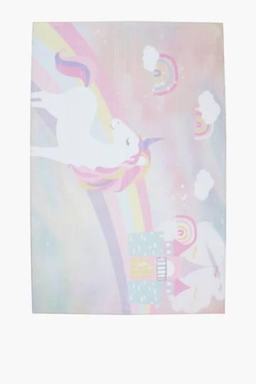 Rainbow Unicorn Memory Foam Rug, 120x180cm