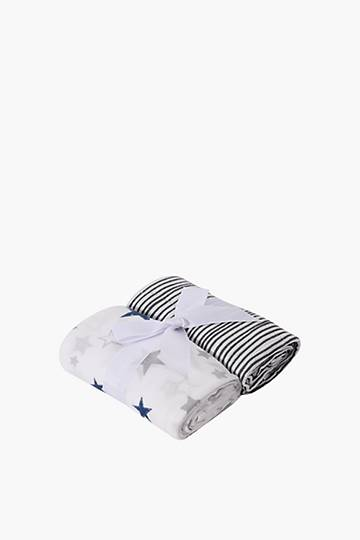 2 Pack Stars And Stripes Muslin Cloths