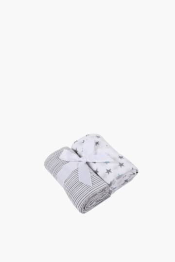 2 Pack Stars And Stripe Muslin Cloths