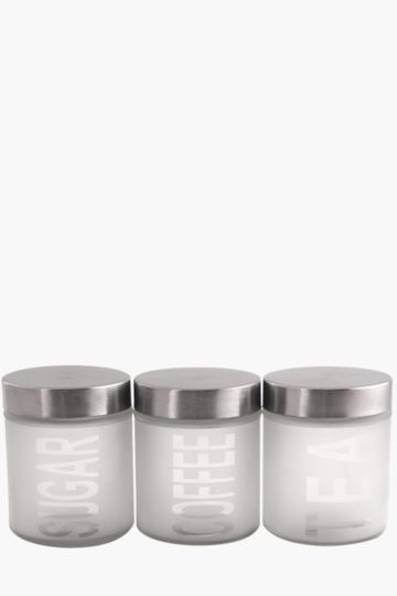 Set Of 3 Frosted Glass Canisters, 600ml