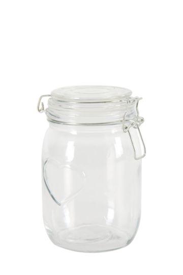 Heart Embossed Clamp Jar, Medium