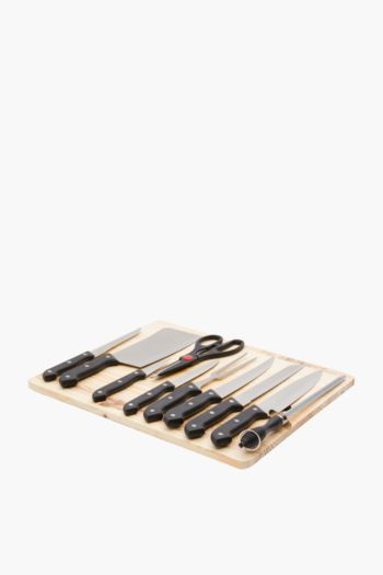 11 Piece Knife Set On Chopping Board