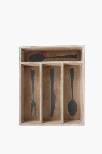 Farm Fresh Wooden Cutlery Tray