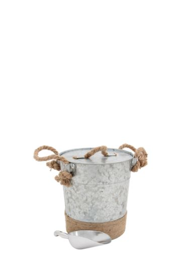 Galvanized Ice Bucket With Rope And Scoop