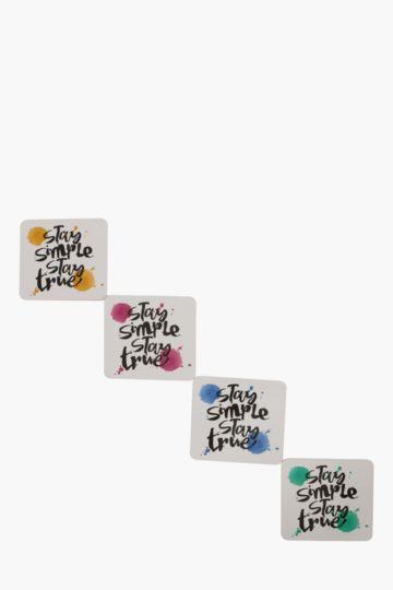 Pack Of 4 Script Cork Coasters