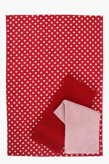 3 Pack Dotted Tea Towels