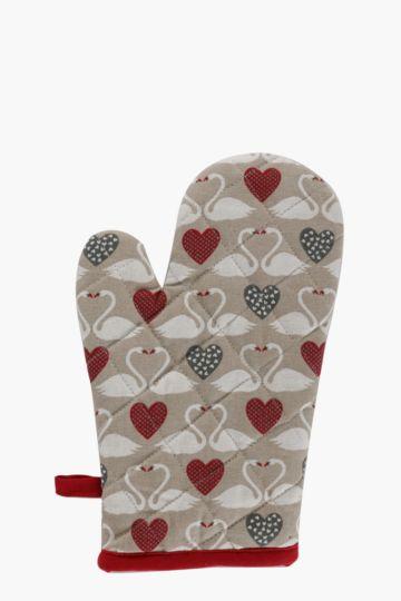100% Cotton Swan Love Single Oven Glove