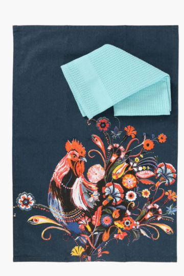 2 Pack Santa Fe Rooster Tea Towels