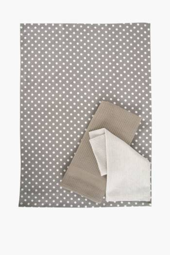 3 Pack Cotton Polka Dot Tea Towels