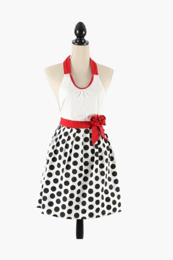 100% Cotton French Polka Dot Apron