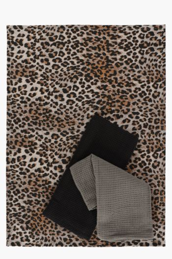3 Pack Cotton Leopard Print Tea Towels
