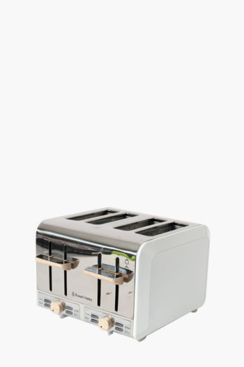 Russell Hobbs White + Wood 4 Slice Toaster