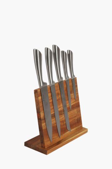 6 Piece Acacia Knife Block Set